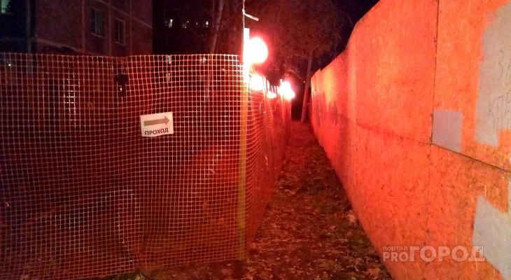 В Рязани появился переулок красных фонарей. Местных жителей впечатлила аварийная подсветка
