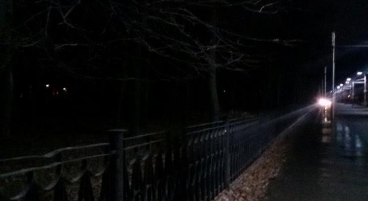 Рано радовались? В парке им. Гагарина половина новых фонарей не горит