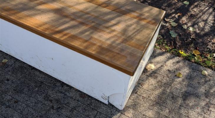 Что за люди: в Наташкином парке вандалы разбили новую скамейку и изрисовали фонарный столб