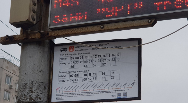 Не ждали у мэра погоды: рязанские активисты повесили на остановках табло с расписанием