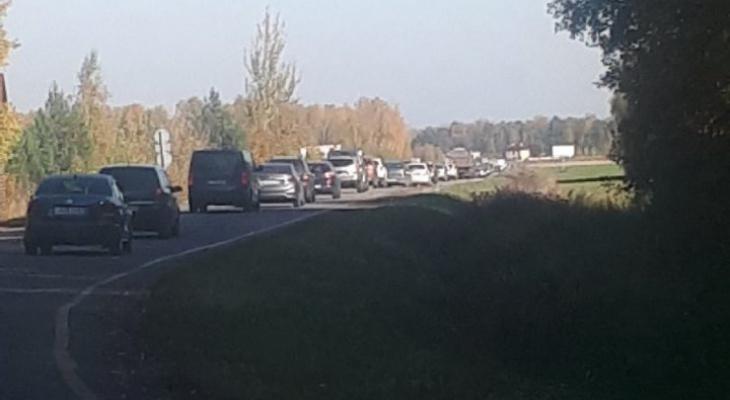 Рязанцы пожаловались на пробку из-за перекрытой трассы до села Константиново